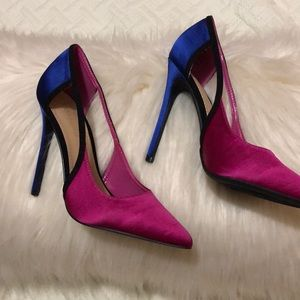 Three color satin heels 5 inch